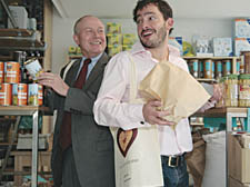 Council leader Keith Moffitt and Giles Coren