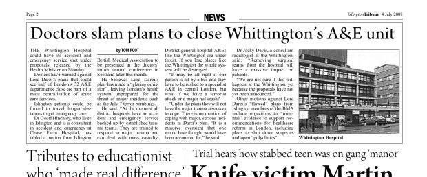 Whittington Hospital Tribune