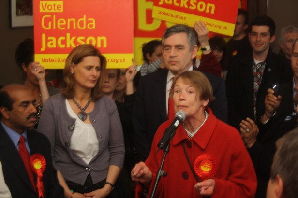 Glenda Jackson supported by Gordon Brown and his wife Sarah