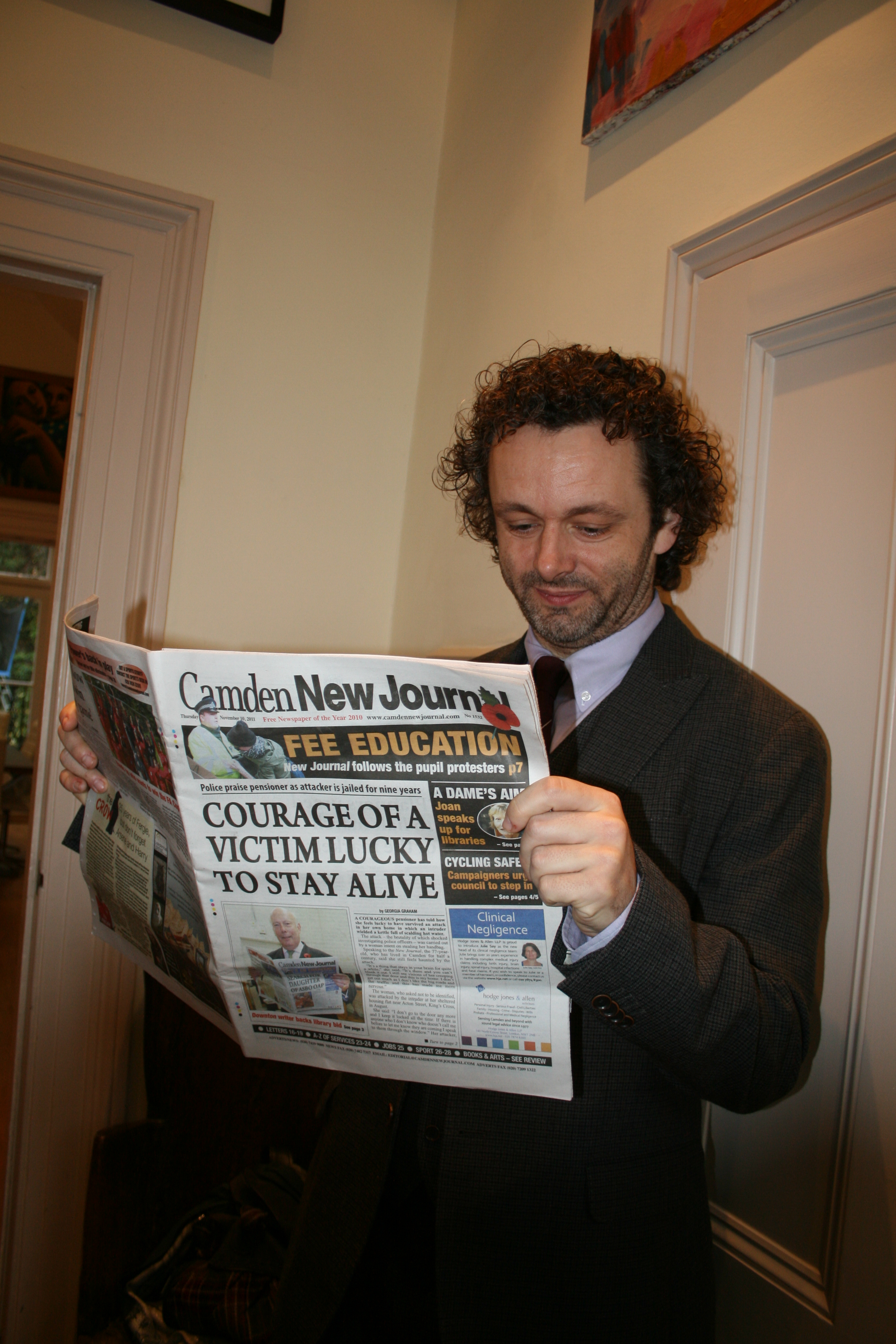 Michael Sheen reads his favourite local paper