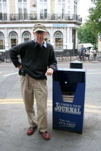 Woody Allen hanging out in Kentish Town, hoping he's got to the dispenser before the last New Journal goes.