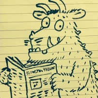 As drawn by Axel Scheffler, The Gruffalo reads the New Journal's sister newspaper, the Islington Tribune