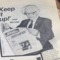 Michael Foot reads the 'Save The Journal' editions as the New Journal came to life from industrial action in the 1980s
