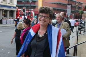 Proud Brit: Sally Gimson drapes herself in a Union Jack