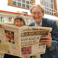 Let's get literary: SIr Michael Holroyd and Margaret Drabble with their favourite local read