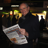 Jim Broadbent caught reading his favourite local paper